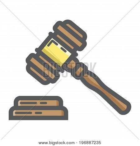 Auction hammer filled outline icon, business and finance, judge gavel sign vector graphics, a colorful line pattern on a white background, eps 10.