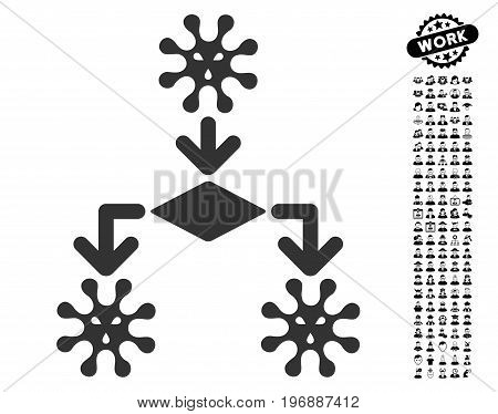Virus Reproduction icon with black bonus people design elements. Virus Reproduction vector illustration style is a flat gray iconic symbol for web design, app user interfaces.