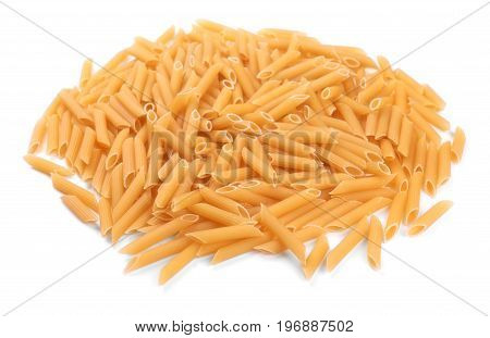 Close-up of a bunch of pasta, isolated on a white background. Raw and organic yellow rigate pasta. Macarons, noodle, spaghetti. A lot of uncooked Penne pasta.