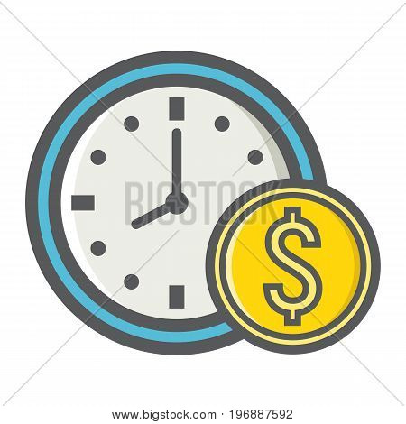 Time Is Money filled outline icon, business and finance, coin sign vector graphics, a colorful line pattern on a white background, eps 10.