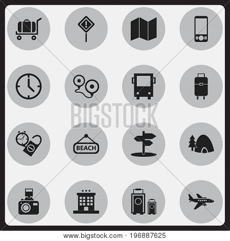 Set Of 16 Editable Travel Icons. Includes Symbols Such As Tabernacle, Plage, Luxury Inn And More
