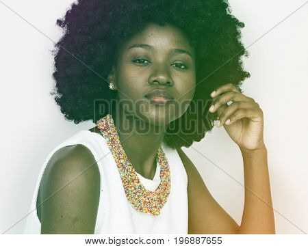 Black woman with a serious expression solo portrait