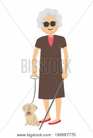 Senior blind woman standing with guide dog isolated over white background