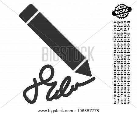 Writing Pencil icon with black bonus men pictograms. Writing Pencil vector illustration style is a flat gray iconic element for web design, app user interfaces.