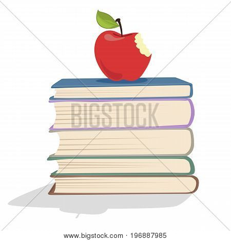 Red apple on a stack of books over white background