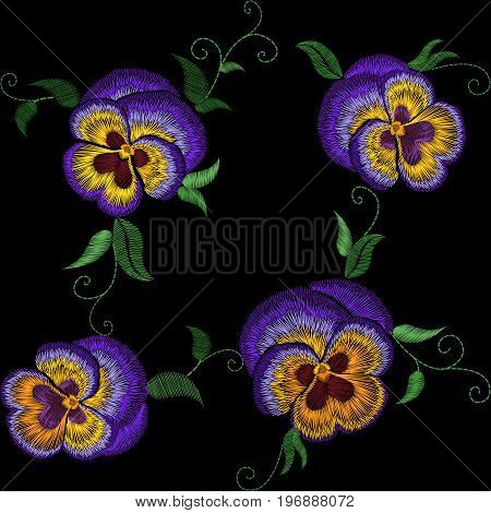 Pansy embroidery flower patch. Stitch texture effect. Traditional floral fashion decorationseamless pattern. Purple violet yellow color black background vector illustration art