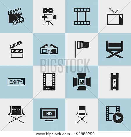 Set Of 16 Editable Filming Icons. Includes Symbols Such As Movie, Clapperboard, Pennant And More