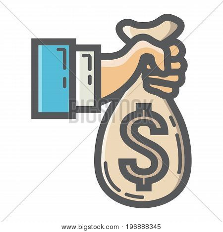 Hand holding money bag filled outline icon, business and finance, bank sign vector graphics, a colorful line pattern on a white background, eps 10.