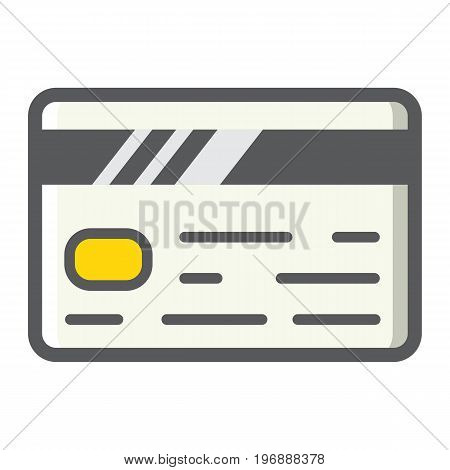 Credit card filled outline icon, business and finance, banking sign vector graphics, a colorful line pattern on a white background, eps 10.
