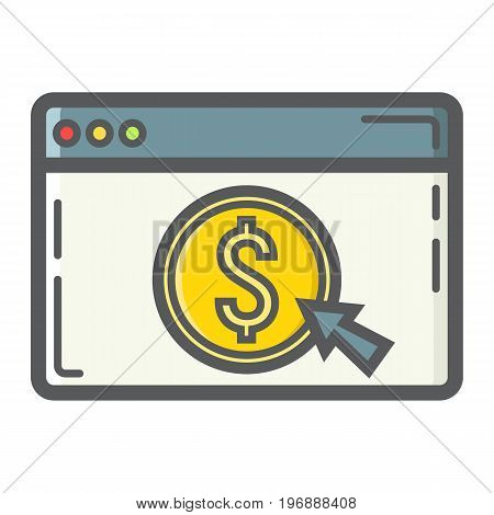 Online banking filled outline icon, business and finance, ecommerce sign vector graphics, a colorful line pattern on a white background, eps 10.