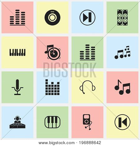 Set Of 16 Editable Mp3 Icons. Includes Symbols Such As Loudspeaker, Piano, Sound Controlling And More
