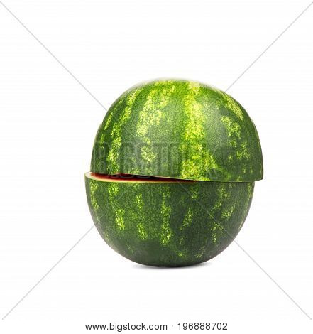 Ripe, fresh and cut watermelon, isolated on a white background. Green striped and juicy watermelon full of vitamins. Cut in a half and organic summer watermelon.