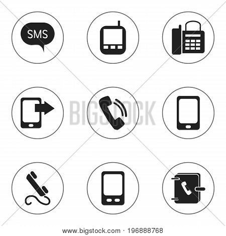 Set Of 9 Editable Device Icons. Includes Symbols Such As Address Notebook, Transceiver, Phone And More