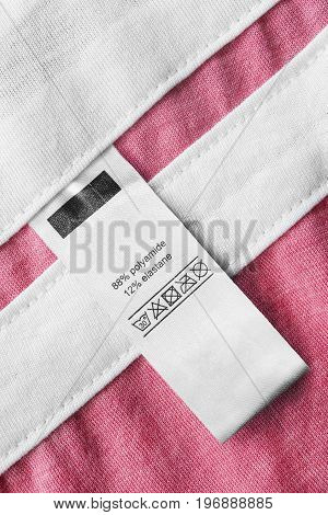 Washing instructions and fabric composition clothes label