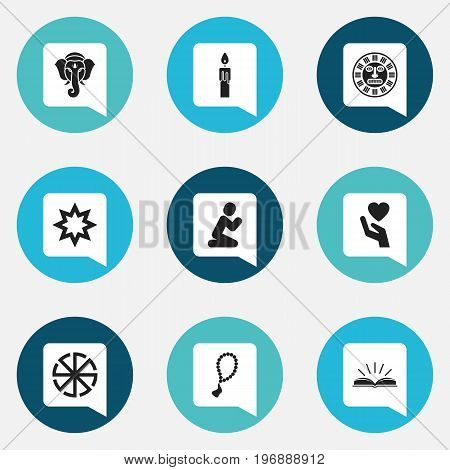 Set Of 9 Editable Faith Icons. Includes Symbols Such As Scripture, Asterisk, Rosary And More