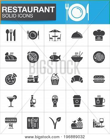 Restaurant vector icons set, modern solid symbol collection, filled style pictogram pack. Signs, logo illustration. Set includes icons as food, cutlery, menu, dishware, dessert, steak, drink vegan