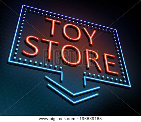 3d Illustration depicting an illuminated neon sign with a toy store concept.