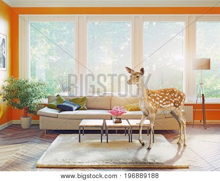 the wild deer in the living room. 3d elements and photo combination  illustration