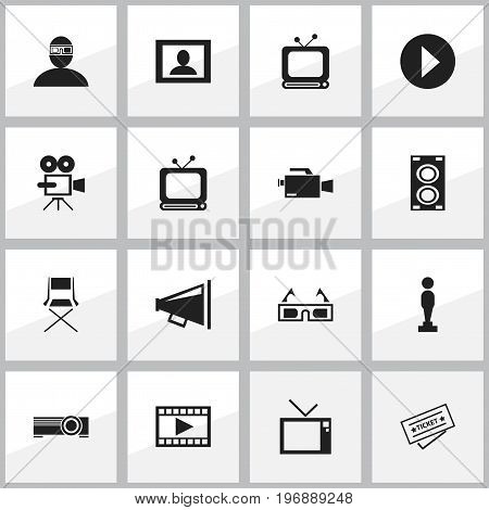 Set Of 16 Editable Cinema Icons. Includes Symbols Such As Start, Record Cam, Megaphone And More
