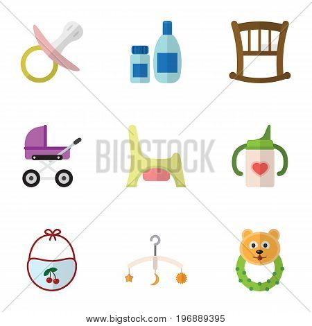 Flat Icon Child Set Of Cream With Lotion, Nipple, Rattle And Other Vector Objects
