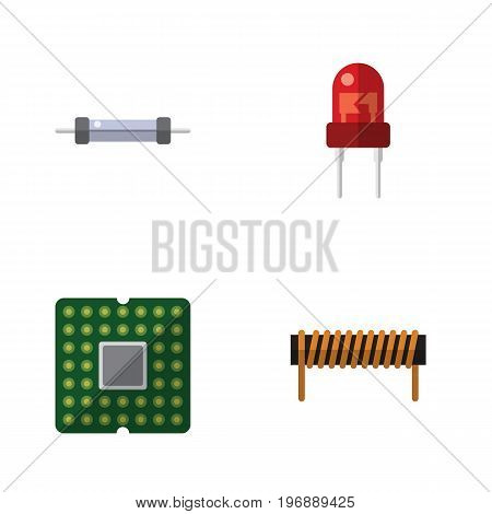 Flat Icon Device Set Of Resistor, Recipient, Unit And Other Vector Objects
