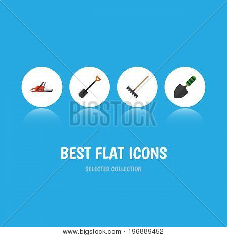 Flat Icon Garden Set Of Harrow, Spade, Hacksaw And Other Vector Objects