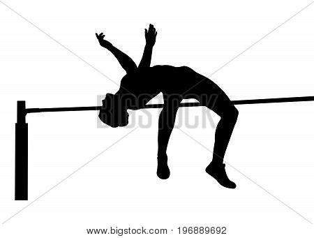 girl athlete jumper high jump black silhouette