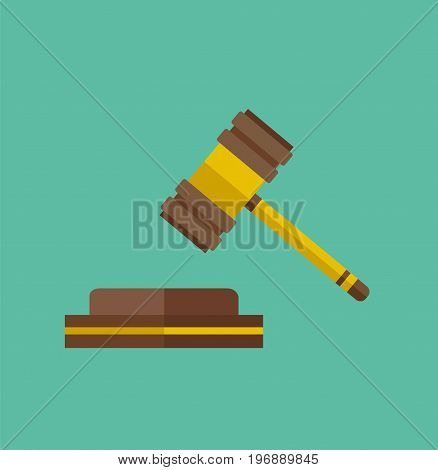 Wooden judge gavel isolated on background. Justice hammer sign. Vector stock.