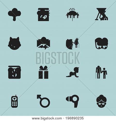 Set Of 16 Editable Folks Icons. Includes Symbols Such As Family, Grandma, Grandchild
