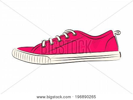 Sketch of sport shoes sneakers for summer. Vector stock illustration. Sport wear for women.