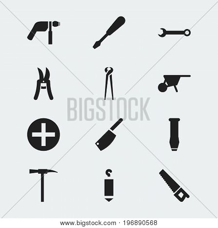 Set Of 12 Editable Apparatus Icons. Includes Symbols Such As Cleaver, Plus, Saw And More