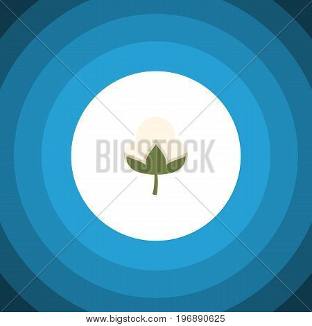 Cotton Vector Element Can Be Used For Cotton, Flower, Bud Design Concept.  Isolated Bud Flat Icon.