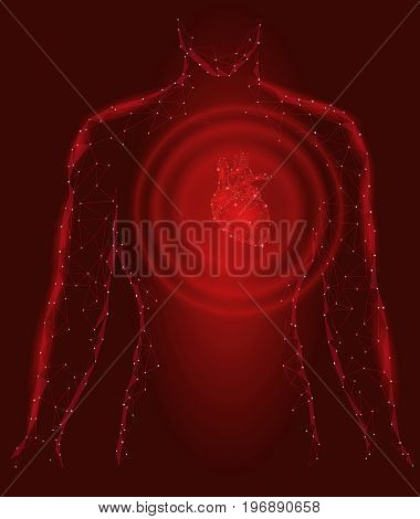 Man silhouette healthy heart beats 3d medicine model low poly. Triangle connected dots glow point red background. Wave impulse from internal body vector illustration art