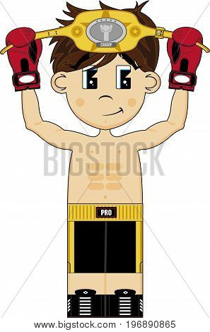Champion Boxer With Belt.eps