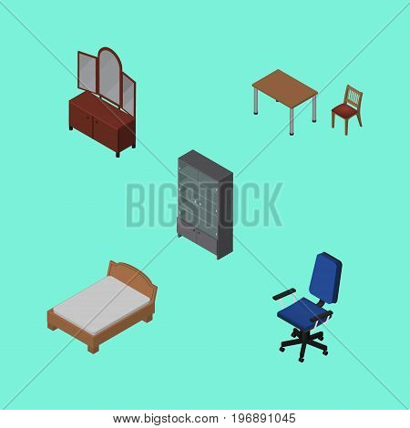 Isometric Furniture Set Of Office, Chair, Bedstead And Other Vector Objects