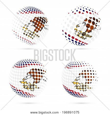 American Samoa Halftone Flag Set Patriotic Vector Design. 3D Halftone Sphere In American Samoa Natio
