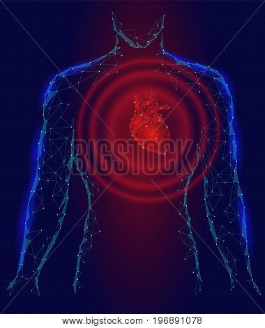 Man silhouette heart beats 3d medicine disease model low poly. Triangle connected dots glow point red blue background. Wave pain impulse from internal body vector illustration art
