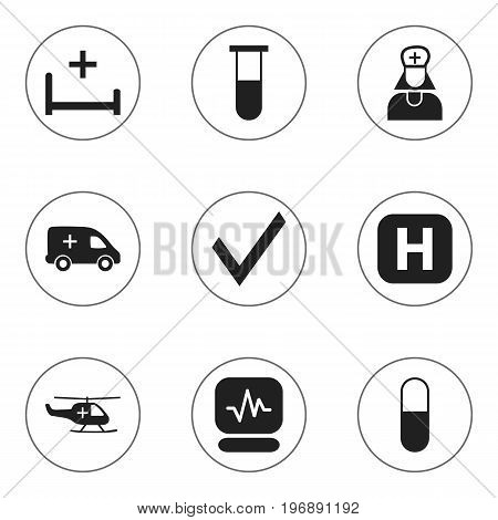 Set Of 9 Editable Health Icons. Includes Symbols Such As Clinic, Emergency, Mark And More