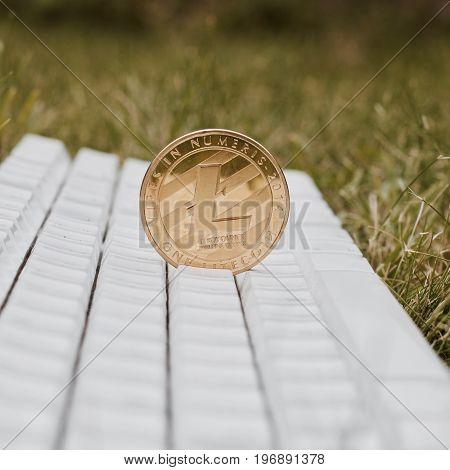 Gold Litecoin On Keyboard