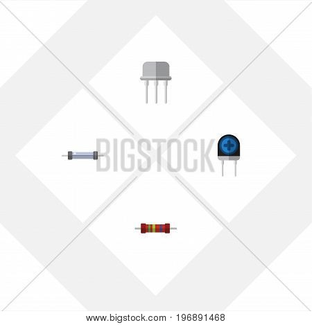 Flat Icon Technology Set Of Resist, Resistance, Transducer And Other Vector Objects