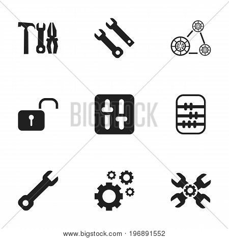 Set Of 9 Editable Mechanic Icons. Includes Symbols Such As Equalizer, Technical Support, Service And More