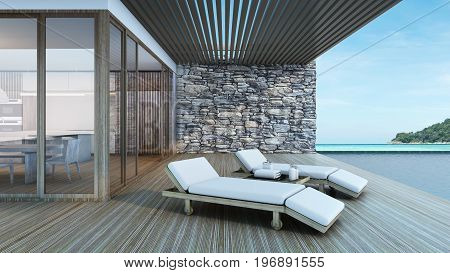Outdoor Beach chair in pool villa background take view sea -3D render