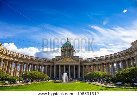 Facade of Kazan Cathedral, St. Petersburg, Russia