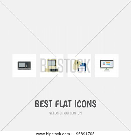 Flat Icon Laptop Set Of Computer, Computer Mouse, Display And Other Vector Objects