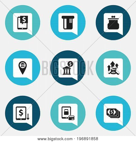 Set Of 9 Editable Finance Icons. Includes Symbols Such As Bucks, Pinpoint, Finance Protection And More