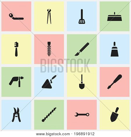 Set Of 16 Editable Apparatus Icons. Includes Symbols Such As Circle Spanner, Turn-Screw, Drill And More