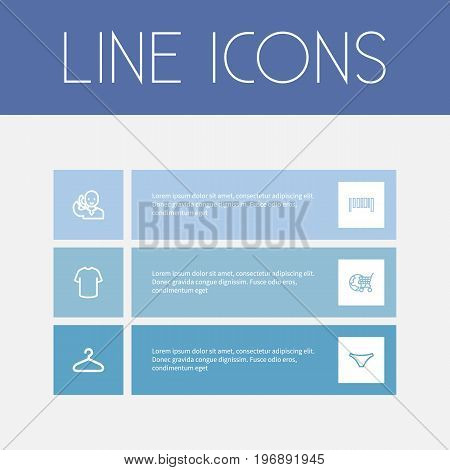 Set Of 6 Editable Shopping Outline Icons. Includes Symbols Such As Globe Cart, Hanger, T-Shirt And More