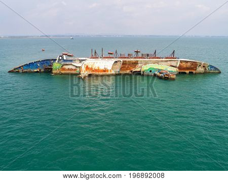 Boat crashes in the sea cruise ship accident Shipwrecktop view aerial view