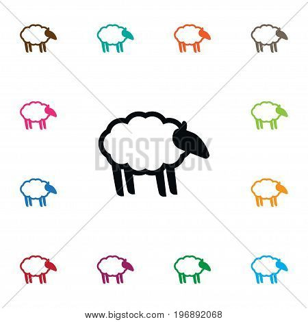 Ewe Vector Element Can Be Used For Sheep, Lamb, Ewe Design Concept.  Isolated Sheep Icon.