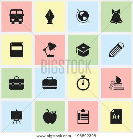 Set Of 16 Editable Education Icons. Includes Symbols Such As Textbook, Timer, Trunk And More